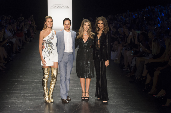 Project Runway hosts and judges (from left) Heidi Klum, Zac Posen, Nina Garcia and Zendaya will be part of the show's 15th season finale. (Credit: Pawel Kaminksi; Courtesy of Lifetime Television)